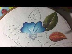 Pintura en tela flor azul para bolsa con Cony - YouTube