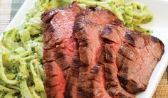 Grilled Flank Steak with Asian Pesto Noodles. You can't shorten the time for soaking rice stick noodles—or can you?