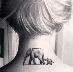 mom and baby elephant tattoo on nape