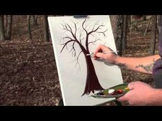 How to paint a tree with acrylic paints - YouTube
