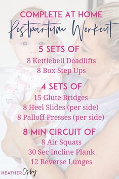 Kettlebell Deadlifts, Box Step Ups, Glute Bridges, Heel Slides, Palloff Presses, Air Squats, Incline Plank, Reverse Lunges. WHEN IT COMES TO PREGNANCY AND POSTPARTUM WORKOUTS IT'S NOT SO MUCH ABOUT THE EXERCISES THEMSELVES BUT HOW YOU PERFORM THOSE EXERCISES. ⠀ A few things to pay attention to as you're returning to your at home postpartum workouts: Watch your body positioning, Breathe, Monitor for symptoms. How to return to your at home postpartum exercise? A-Z guide first 16 weeks after… Crossfit Workouts At Home, Short Workouts, Gym Workouts Women, Fit Board Workouts, Air Squats, 16 Weeks, Home Exercise Routines, Pelvic Floor