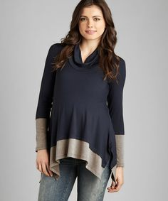 Take a look at this Navy & Heather Brown Maternity Color Block Top by Maternal America on #zulily today!