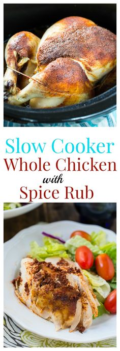 This spice-rubbed whole chicken cooked in a crock pot has no added fat. #healthy