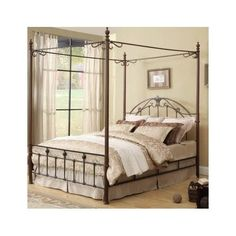 Metal Canopy Bed Poster Antique Wrought Iron King Headboard Footboard Frame Set #NA #Traditional