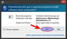 permitir a instalação da aplicação Autenticação.gov.pt