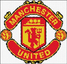 Cross Stitch Kits Manchester United) - Free cross-stitch design 'Manchester United', 100 x 95 stitches 3 colors Cross Stitch Kits, Cross Stitch Designs, Cross Stitch Patterns, Manchester United, Knitted Cushion Covers, Knitted Cushions, Cross Stitch Embroidery, Embroidery Patterns, Logo Club