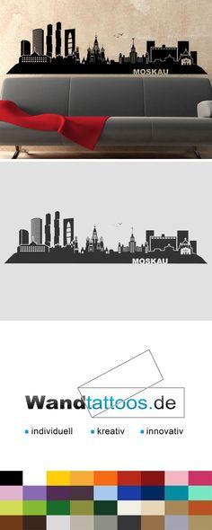 Elegant Wandtattoo Moskau Skyline Russland