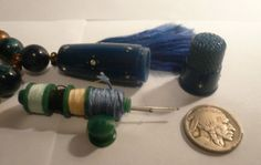1930s Sewing Kit Chatelaine Teal Blue Bakelite Paste White Stones & VIntage Tassle Brass Alloy Metal Necklace 24""