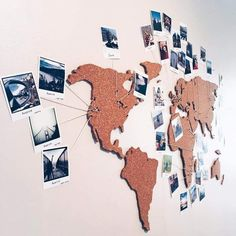Pretty Cork Board, Hobby Lobby Cork Board, Fabric Covered Cork Board, Decorative Framed Cork Boards, (world travel crafts) World Map Pin Board, World Map With Pins, Polaroid Display, Polaroid Ideas, Polaroid Pictures Display, Polaroid Wall, Polaroid Crafts, Photowall Ideas, Diy Wall Decor