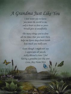 mothers day poems | GRANDMA LIKE YOU PERSONALIZED POEM BIRTHDAY, CHRISTMAS OR MOTHERS