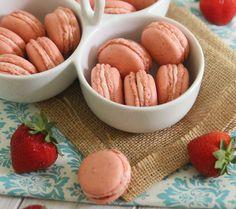 Strawberry Rhubarb Macarons
