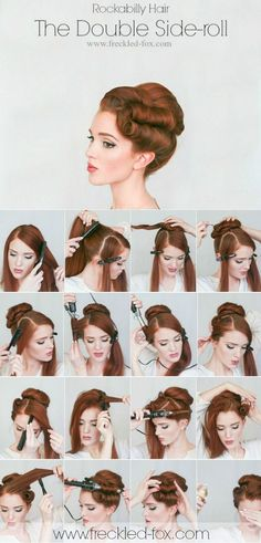 Retro Hairstyles The Freckled Fox: Hair Tutorial The Rockabilly Double-roll - Retro Hairstyles, Wedding Hairstyles, Vintage Hairstyles Tutorial, 1940s Hairstyles For Long Hair, Vintage Updo Tutorial, 1950s Hair Tutorial, 1940s Makeup Tutorial, Fashion Hairstyles, Everyday Hairstyles