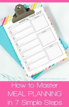 How to Master Meal Planning in 7 Simple Steps:  Learn a simple, step-by-step system to create a meal planning binder and master meal planning once and for all. Save time, money and stress and become a meal planning ninja!