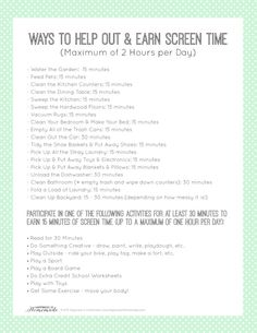 Printable Chore List to Earn Screen Time via @hiHomemadeBlog