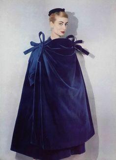 Harper's Bazaar, 1961 Blue Velvet Cape