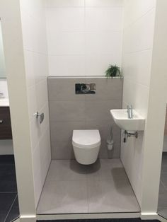 Hellgrau bathroom toilet wc badkamer muurtje toiletpot mosa tegels tiles grey white