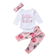 6b4175f1f2839 Newborn Infant Baby Girl Clothes Little Sister Romper + Floral Pants  Outfits Set