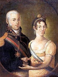 Manuel Dias de Oliveira: Retrato de D. João e Dona Carlota, uma imagem oficial que dissimula a perene discórdia entre o casal - João VI de Portugal – Wikipédia, a enciclopédia livre