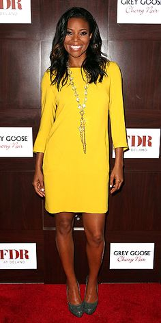 GABRIELLE UNION  The actress lights up Miami's Delano Hotel at a Grey Goose-sponsored bash in a sunny yellow frock, statement necklace and neutral pumps. Cute Yellow Dresses, Pretty Dresses, People Style Watch, Gabrielle Union, Red Carpet Dresses, Get Dressed, Delano Hotel, Fashion Watches, Neutral Pumps