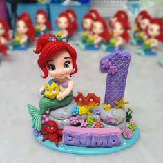 Mermaid Birthday Cakes, Little Mermaid Birthday, Little Mermaid Parties, Mermaid Cakes, Baby Mermaid, Ariel The Little Mermaid, Fondant Cake Toppers, Fondant Figures, Fondant Cakes