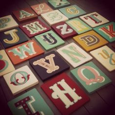 Finally finished my collection of hand screen printed letters on painted wood. Soon to be sold on Not on the Hight Street.com. If anyone is interested you can order direct through myself just send me an email to sophiegarwell@hotmail.com