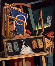 Giorgio de Chirico, Intérieur métaphysique avec profil de statue. Artist Painting, De Chirico, Surreal Art, Metaphysical Art, Surrealism Artists, Abstract, Underrated Artists, Italian Artist, Interesting Art