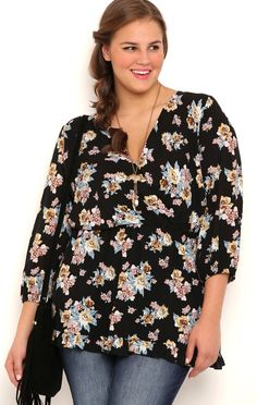 Deb Shops Plus Size Floral Tunic Top with Ruffle Hem