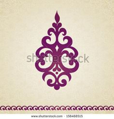 Symmetric ornament pattern in Victorian style on seamless curls background. Element for design. It can be used for decorating of invitations, cards, decoration for bags and at tattoo creation.