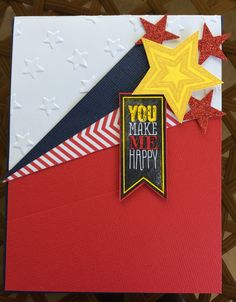 Perfect Pennants and Be the Star stamp sets by Stampin' Up! used to make this patriotic birthday card. Stars embossing folder also by Stampin' Up! Stars, Fourth of July, red, white, and blue birthday. Card by Beverly Stewart.