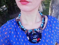 Collier ethnique corde collier Art bijoux verre perles Elf collier conceptuel…