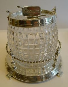 Superb Antique English Silver Plate & Cut Crystal Biscuit Box c.1890 #Victorian