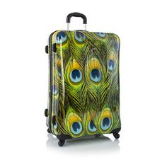 """Fashion Prints 30"""" - Peacock hard sided suitcase. Please and thank you."""