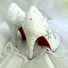 Wedding Shoes snowflakes  Winter Wedding Red Soles by norakaren, $295.00
