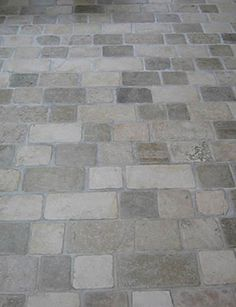 Limestone Tumbled Cobblestone Pavers - traditional - floor tiles - other metro - Rebekah Zaveloff Limestone Flooring, Brick Flooring, Kitchen Flooring, Floors, Limestone Pavers, Flooring Ideas, Kitchen Backsplash, Cobblestone Pavers, Stone Driveway