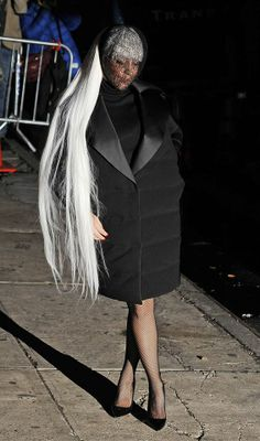 LADY GAGA - NEW YORK, NY.   Lady Gaga wears Balenciaga FW 2014 to the Roseland Ballroom Performance on Mar. 31, 2014.