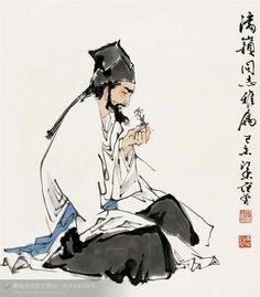 Chinese Brush, Chinese Art, Japanese Painting, Chinese Painting, Chinese Drawings, Ink Painting, Figure Painting, Different Art Styles, Ink Pen Drawings