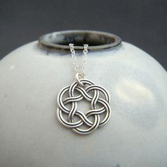silver celtic necklace. small sterling silver by limegreenmodern