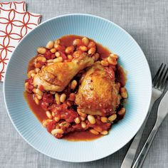 Tuscan Stewed Chicken with White Beans and Tomato | MyRecipes.com