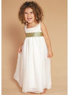 Empire Scoop Neck Floor-Length Chiffon Taffeta Flower Girl Dress With Sash