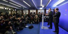 Le discours de Jean-François Copé au siège de l'UMP, lundi 26 novembre.  | AFP/KENZO TRIBOUILLARD