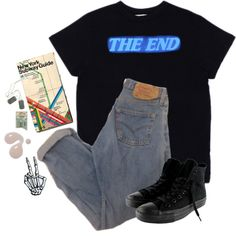 THE END by fuck0ffbye on Polyvore featuring Converse