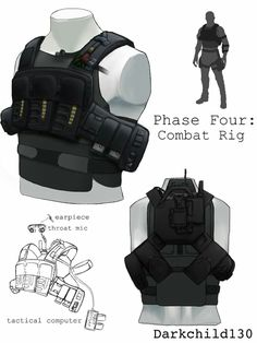 Combat rig, including rough sketch of wire routing for comms and tactical computer. Gray 1 redesign: Phase Four Armor Concept, Concept Art, Tactical Armor, Futuristic Armour, Gear Art, Sci Fi Armor, Future Soldier, Tac Gear, Military Gear