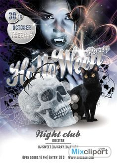 CAT - Template Flyer Halloween Party - Free PSD File