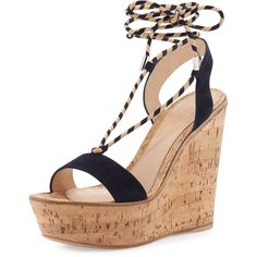 Gianvito Rossi Hyeres Nautical Striped Lace-Up Sandal (50.165 RUB) ❤ liked on Polyvore featuring shoes, sandals, shoes sandals, texas, strappy lace up sandals, strappy platform sandals, ankle strap shoes, strappy leather sandals and self tying shoes