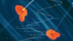 An artist's conception of a black hole binary in a heart of a quasar, with the data showing the periodic variability superposed. Credits: Santiago Lombeyda, Center for Data-Driven Discovery, Caltech
