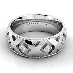 Brides: Danhov. Classico Flat X Band18k white gold men's band with Xs and .4 total carat weight of diamonds.Visit danhov.com to experience the full collection>