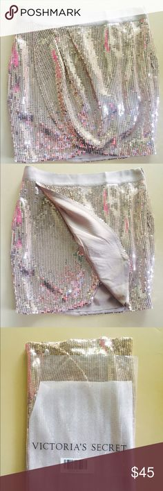 🌟 Host PickVictori's Secret sequin skirt NWT Victori's Secret sequin skirt NWT -Gorgeous sequin skirt  -Golden color -wrap style with flap -Zip on the side Victoria's Secret Skirts Mini