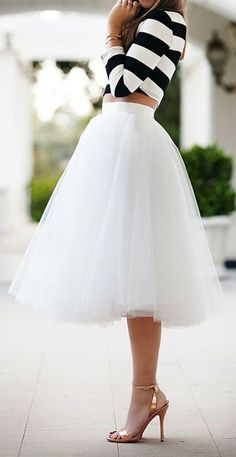 tulle skirt and rose gold heels *swoon*. White may be difficult if you're a mom, but this is a beautiful outfit.