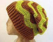 Unisex Crochet, Slouch, Beanie Hat, with a Ribbed Band and Chevron Stripes in Light Brown and Lime Green