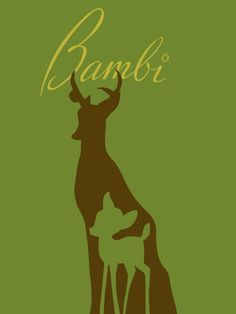 An elegant, understatedly lovely (and somewhat vintage feeling) Bambi Movie Poster.